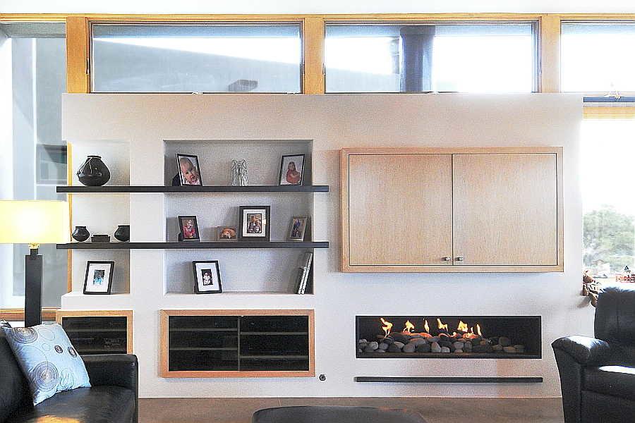 16RM Stone and Steel House bookshelves 1